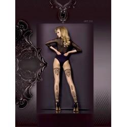 Collant Nude Motifs Noirs Baroque