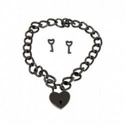 Collier Chaine et Coeur Cadenas en Métal Noir