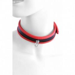 Collier Simili Cuir Rouge avec Attache Chaine